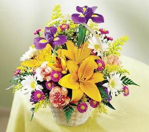 Ankara Gölbaşı çiçek gönderme  Karisik mevsim çiçeklerinden sepet tanzimi