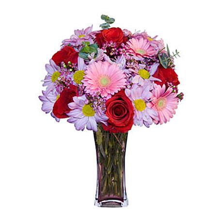 Görsel hediye karisik cam mevsim demeti  Gölbaşı çiçek kaliteli taze ve ucuz çiçekler