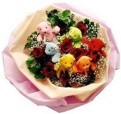 6 adet renkli ayicik ve 6adet  gül buketi  Gölbaşı anneler günü çiçek yolla
