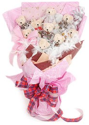 10 adet pelus ayicik buketi  Ankara Gölbaşındaki çiçekçiler ankara çiçek satışı