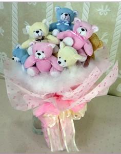 11 adet rengarenk pelus ayicik demeti  Çiçekçi Gölbaşı çiçekçi mağazası