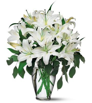 Gölbaşı çiçek siparişi yurtiçi ve yurtdışı çiçek siparişi  4 dal kazablanka ile görsel vazo tanzimi