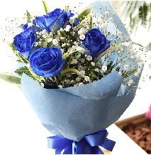 5 adet mavi gülden buket çiçeği  Ankara Gölbaşı hediye sevgilime hediye çiçek