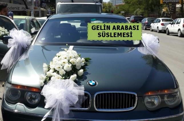 Gelin Arabası süslemesi Düğün arabası  Ankara Gölbaşı çiçekçi uluslararası çiçek gönderme