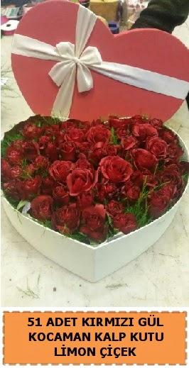51 adet kırmızı gül kocaman kalp kutu  Ankara Gölbaşı 14 şubat sevgililer günü çiçek