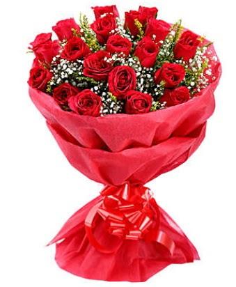 21 adet kırmızı gülden modern buket  Ankara Gölbaşı 14 şubat sevgililer günü çiçek