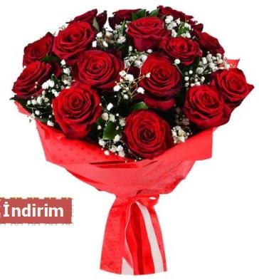 12 Adet kırmızı aşk gülleri  Ankara Gölbaşı hediye sevgilime hediye çiçek