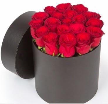 21 adet siyah kutuda kırmızı gül  ankara Gölbaşı çiçek mağazası , çiçekçi adresleri