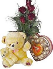 Gölbaşına çiçek , çiçekçi , çiçekçilik  7 gül oyuncak çikolata