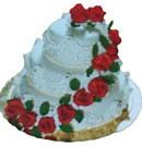 Gölbaşına çiçek , çiçekçi , çiçekçilik  3 katli güllerle süslü pasta
