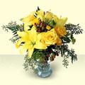 Gölbaşı çiçek yolla , çiçek gönder , çiçekçi   sari güller ve sari lilyum