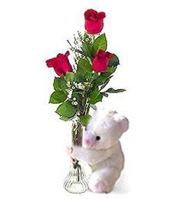 oyuncak ve 3 adet gül  Gölbaşı çiçekçi güvenli kaliteli hızlı çiçek
