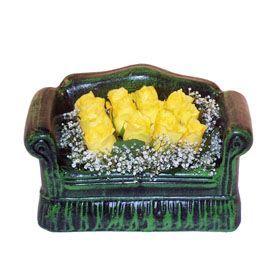 Seramik koltuk 12 sari gül   Gölbaşı ankara çiçek servisi , çiçekçi adresleri