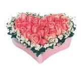 kalp içerisinde 9 adet pembe gül  Ankara Gölbaşı hediye sevgilime hediye çiçek