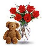 vazoda 6 adet gül ve oyuncak  Ankara çiçekçiler Gölbaşı online çiçek gönderme sipariş