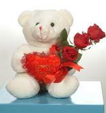 3 adetgül ve oyuncak   Ankara Gölbaşı çiçek siparişi vermek
