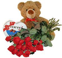 oyuncak çikolata  12  gül   Ankara Gölbaşı çiçekçi uluslararası çiçek gönderme