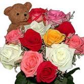 renkli güller ve ayicik   Gölbaşı ucuz çiçek gönder