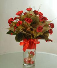 yapay güllerden vazo  9 gül  Gölbaşı çiçekçi telefonları
