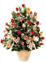 91 adet renkli gül aranjman   Gölbaşı çiçek gönder cicekciler , cicek siparisi
