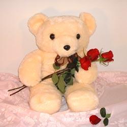 3 gül ve oyuncak ayicik   Gölbaşı çiçek online çiçek siparişi