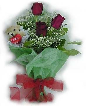 3 adet gül ve küçük ayicik buketi  Gölbaşı Ankara çiçek yolla