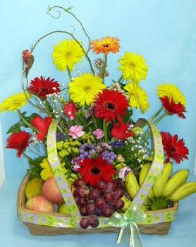 Gölbaşı Ankara çiçek yolla  sepet içerisinde meyva ve çiçekler