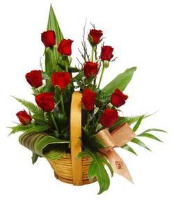 Gölbaşı Ankara çiçek yolla  sepet içerisinde 12 adet kirmizi gül - özel kisiler siparisi ideal -