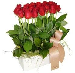Gölbaşı Ankara çiçek yolla  12 adet kirmizi güllerden sepet tanzimi