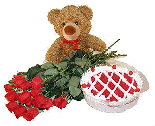 Gölbaşı çiçek kaliteli taze ve ucuz çiçekler  12 adet kirmizi gül ayicik ve yaspasta