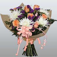 güller ve kir çiçekleri demeti   Gölbaşı çiçek yolla online çiçekçi , çiçek siparişi