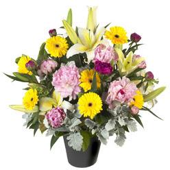 karisik mevsim çiçeklerinden vazo tanzimi  Gölbaşı çiçekçi telefonları