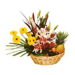 Karisik meyva sepeti ve çiçekler  Gölbaşı Ankara çiçek yolla