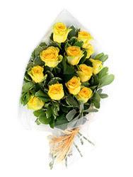 çiçek siparişi Gölbaşı çiçekçiler  12 li sari gül buketi.