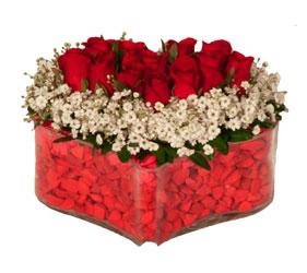 Gölbaşı ankara çiçek gönderme sitemiz güvenlidir  Mika kalp içerisinde 9 adet kirmizi gül tanzimi