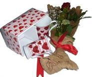 Gölbaşı çiçek yolla , çiçek gönder , çiçekçi   2 adet kalpli kupa ve kirmizi gül buketi