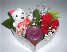 Gölbaşı Ankara çiçek yolla  kalp içerisinde 3 gül seni seviyorum yazili pelus