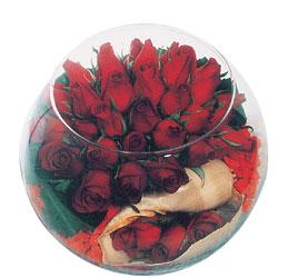 Gölbaşına çiçek , çiçekçi , çiçekçilik  Cam fanus içerisinde sevdiklerinize özel 12 gül