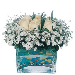 Gölbaşı çiçek kaliteli taze ve ucuz çiçekler  mika yada cam içerisinde 7 adet beyaz gül