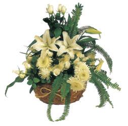 Ankara Gölbaşı çiçekçi uluslararası çiçek gönderme  sepet içerisinde karisik mevsimlik çiçek