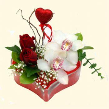 Gölbaşı ucuz çiçek gönder  1 kandil orkide 5 adet kirmizi gül mika kalp