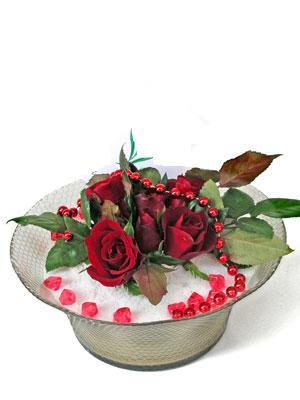Ankara çiçekçi Gölbaşı İnternetten çiçek siparişi  EN ÇOK Sevenlere 7 adet kirmizi gül mika yada cam tanzim