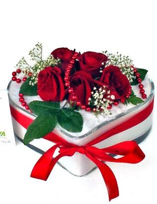 Ankara Gölbaşı çiçek gönderme  EN ÇOK BEN SEVIYORUM Mika kalp 5 adet kirmizi gül