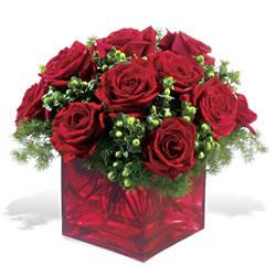 Ankara Gölbaşı çiçekçi uluslararası çiçek gönderme  9 adet kirmizi gül cam yada mika vazoda