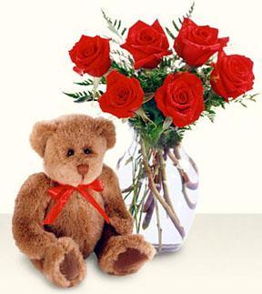 Ankara Gölbaşı hediye sevgilime hediye çiçek  cam yada mika vazo içerisinde 6 adet gül ve ayicik