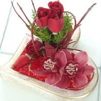 Gölbaşı çiçek yolla online çiçekçi , çiçek siparişi  2 kandil orkide 3 adet kirmizi gül mika kalp