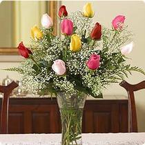 Gölbaşı çiçek yolla , çiçek gönder , çiçekçi   renkli gül 11 adet çiçekçi den cam yada mika vazo tanzimi