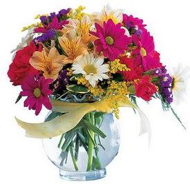 Gölbaşı çiçek siparişi yurtiçi ve yurtdışı çiçek siparişi  cam yada mika içerisinde karisik mevsim çiçekleri