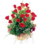 Gölbaşına çiçek , çiçekçi , çiçekçilik  12 adet kirmizi gülden sepet tanzimi