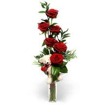 Gölbaşı çiçek yolla online çiçekçi , çiçek siparişi  cam yada mika vazo içinde 7 adet kirmizi gül ve oyuncak